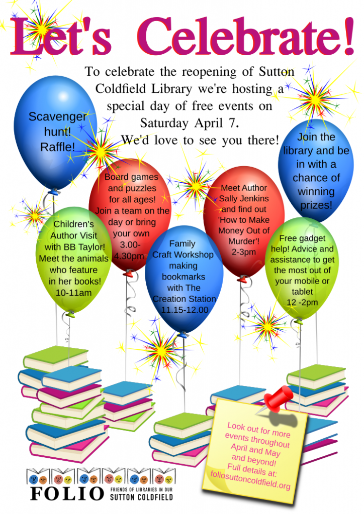 Do join us on April 7 for a day of free activities in Sutton Coldfield library