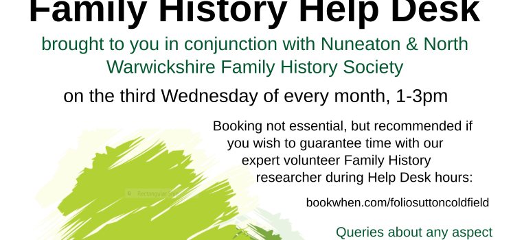 Research your ancestors at Sutton Coldfield Library